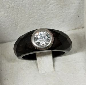 Modern Faceted Black Resin and CZ Ring